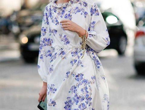 White, Clothing, Street fashion, Blue, Fashion, Cobalt blue, Dress, Shoulder, Electric blue, Outerwear,