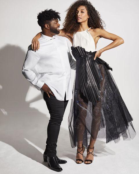 Fashion model, White, Clothing, Fashion, Shoulder, Fashion design, Beauty, Hairstyle, Dress, Model,