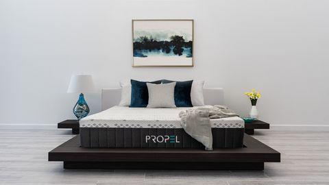 Green, Room, Wood, Floor, Interior design, Bed, Flooring, Textile, Bedding, Wall,