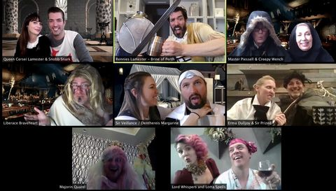screenshot of zoom game of thrones themed murder mystery party