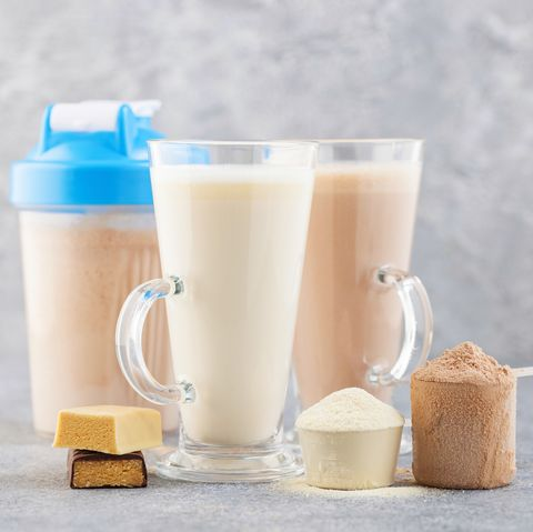 Protein shake bottle, powder and bars