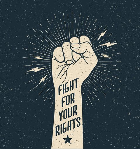 protest fist with fight for your rights sign on grunge styled vector illustration