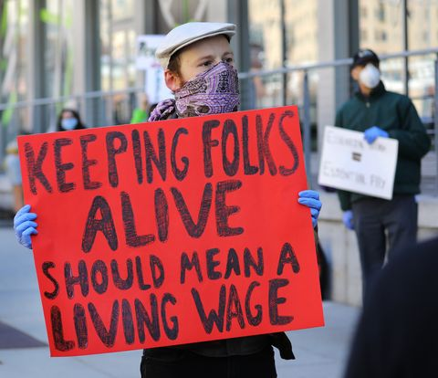 boston, ma   april 7 grocery store workers and others stage a protest rally outside the whole foods market, in the south end of boston, to demand personal protective equipment, added benefits if needed and hazard pay, during the coronavirus pandemic on apr 7, 2020 photo by pat greenhousethe boston globe via getty images