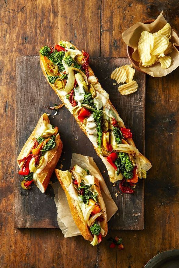 Provolone Veggie Party Subs - Healthy Super Bowl Recipes