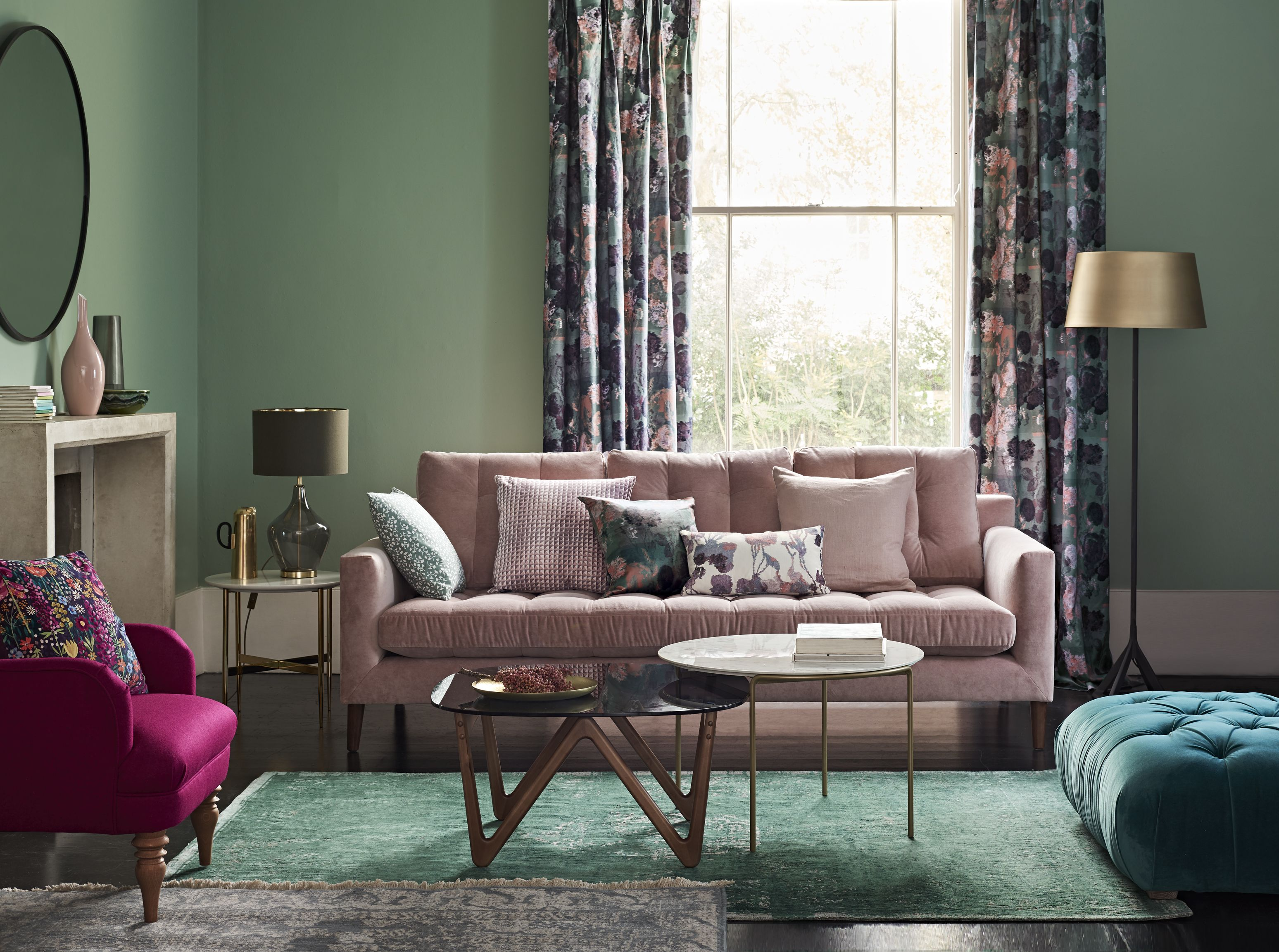 Sterling Armchair Fushia, Draper Grand Sofa, Curtains Capella Print Fabric,  All From John