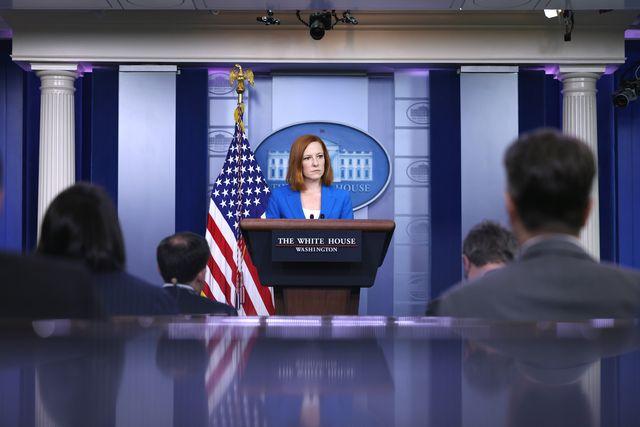 washington, dc   may 17  white house press secretary jen psaki speaks at a daily press briefing at the james brady press briefing room of the white house on may 17, 2021 in washington, dc psaki spoke on the united states' involvement in the current israel and palestine conflict photo by anna moneymakergetty images