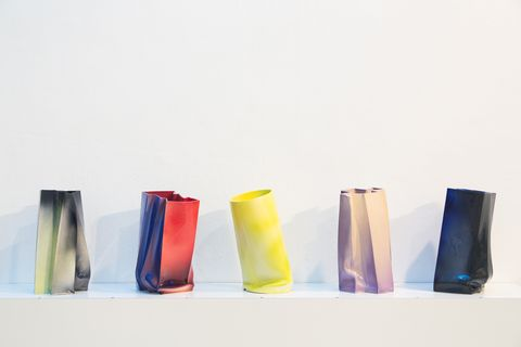 Vase, Yellow, Material property, Textile, Glass, Cylinder, Rectangle, Still life photography, Furniture, Plastic,