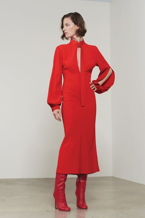 Clothing, Red, Fashion model, Dress, Neck, Fashion, Sleeve, Formal wear, Outerwear, Suit,