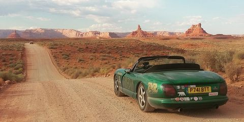 Land vehicle, Vehicle, Car, Regularity rally, Convertible, Tvr chimaera, Sports car, Classic car, Coupé, Tree,