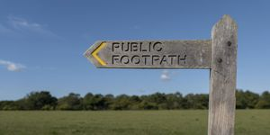 A Wooden Footpath Sign Post Indicating A Public Footpath England