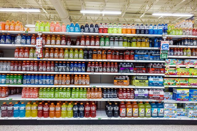 publix grocery store, sports drinks display