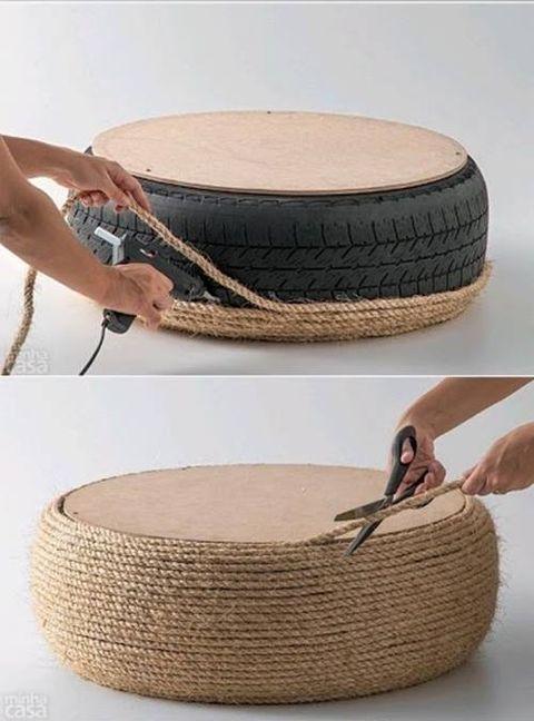 puf de cuerda con un neumático
