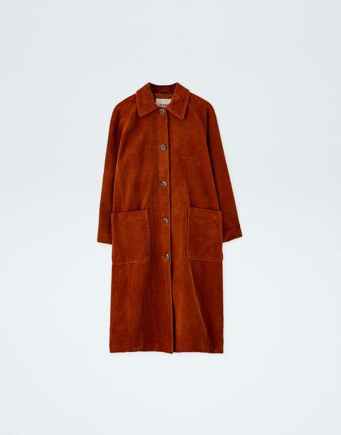 Clothing, Outerwear, Coat, Tan, Sleeve, Orange, Brown, Collar, Overcoat, Trench coat,