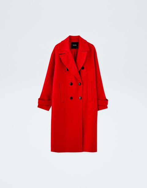 Clothing, Coat, Outerwear, Trench coat, Red, Overcoat, Sleeve, Collar, Button,