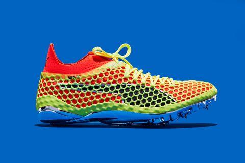 Shoe, Footwear, Running shoe, Athletic shoe, Outdoor shoe, Orange, Cleat, Walking shoe, Sneakers, Electric blue,