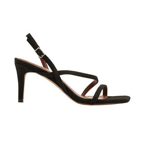 sandaal met hoge hak en bandjes in zwart imitatie suede van na kd