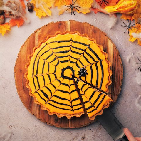 halloween recipe pumpkin bakewell spider web tart