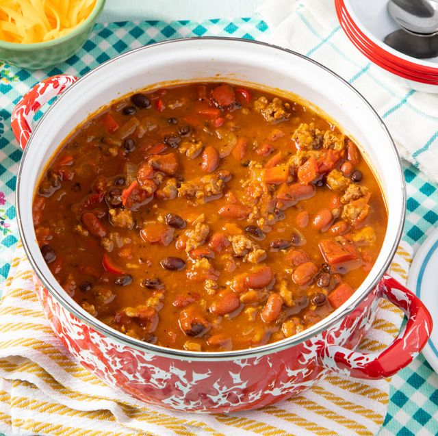 pumpkin chili with sausage black and kidney beans tomatoes in a pumpkin broth