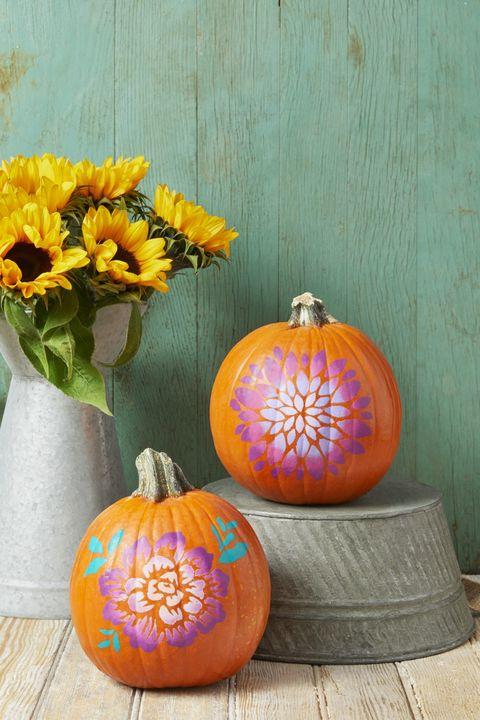 pumpkin decorating ideas ombre flowers