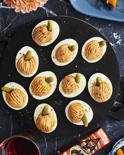 pumpkin  pesto crostini, smokey pumpkin deviled eggs