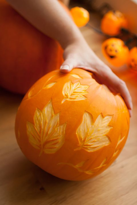 Pumpkin Carving Ideas Etched Leaves