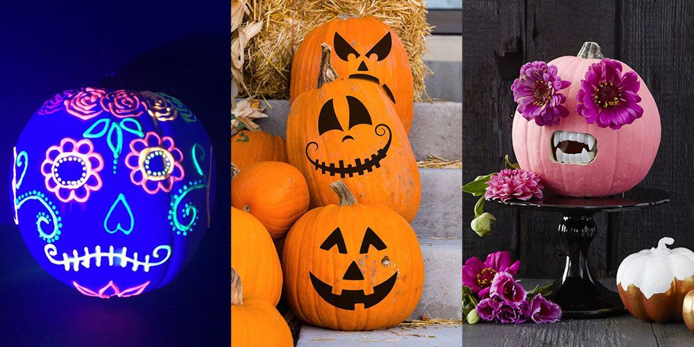 Pumpkin faces to carve paint or decorate for halloween