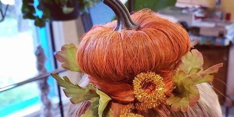 Hair, Orange, Pumpkin, Hairstyle, Calabaza, Plant, Flower, Peach, Vegetarian food, Fashion accessory,