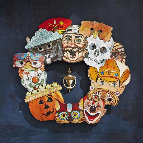diy wreaths for halloween vintage masks