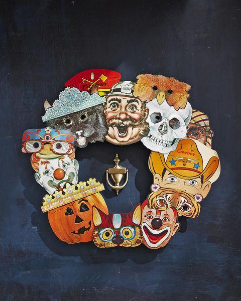 vintage halloween masks wreath halloween crafts for kids