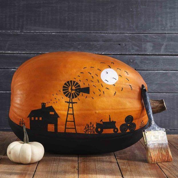 pumpkin painted with farm scene