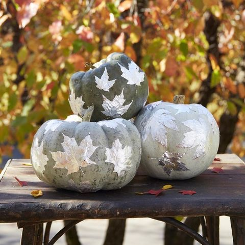 pumpkins with silver leaf decorations