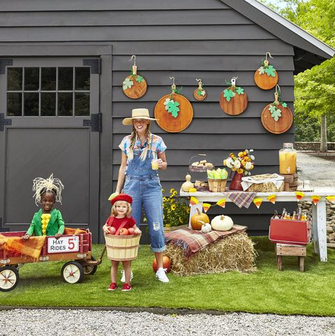 outdoor bushels of fun halloween party with food and decorations