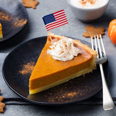 Pumpkin pie, tart made for Thanksgiving day with whipped cream