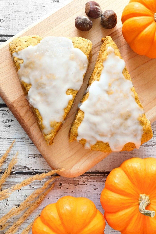 pumpkin scones glazed