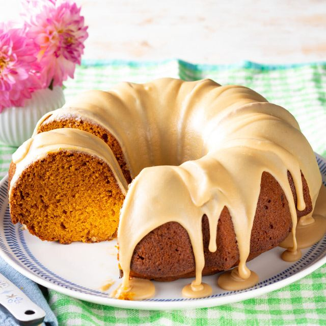 pumpkin spice cake recipe with brown sugar caramel glaze with a slice taken out
