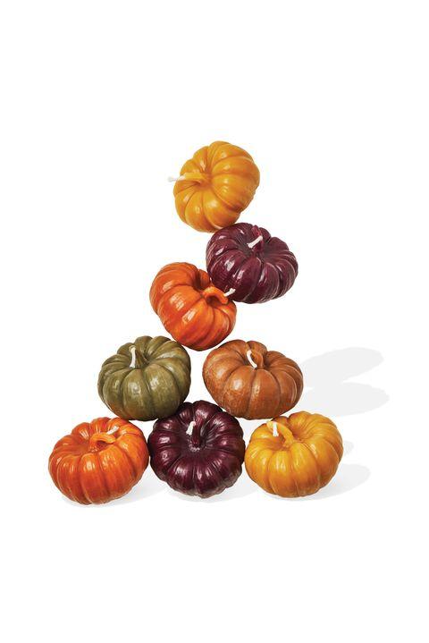 candles shaped like pumpkins