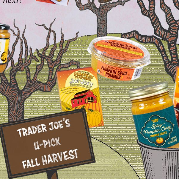 """cartoon orchard with trader joe's products hanging from the trees, pumpkin cranberry crisps say, """"pumpkin spice hummus what will they think of next"""" and a pie pumpkin says, """"i only have pies for you, joe"""""""