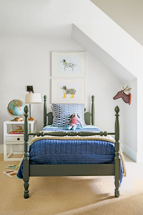 Bedroom, Bed, Furniture, Room, Bed frame, Blue, Bed sheet, Green, Yellow, Interior design,