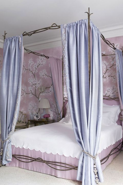 Canopy bed, Curtain, Lavender, Bed, Room, Furniture, Purple, Clothes hanger, Bedding, Textile,