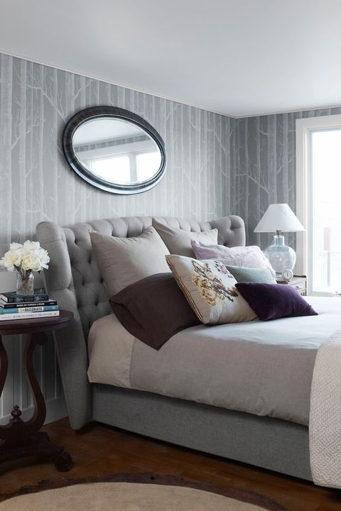 purple bedroom with gray walls