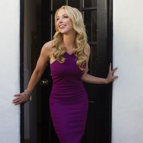 Clothing, Hair, Dress, Blond, Purple, Shoulder, Pink, Beauty, Cocktail dress, Magenta,