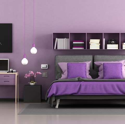 Purple modern master bedroom