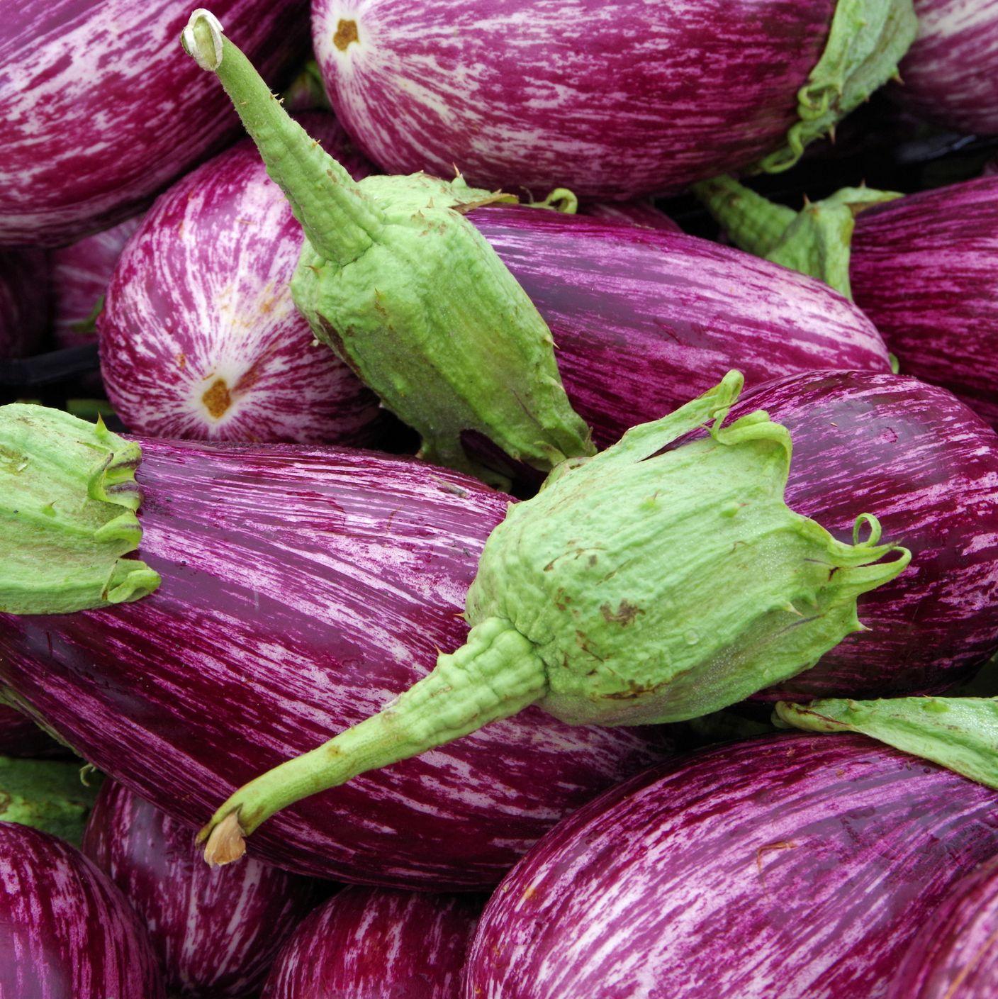 Purple with white streaks Sicilian eggplants