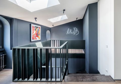 Room, Building, Interior design, Architecture, Ceiling, Wall, Stairs, House, Design, Floor,