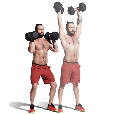 Weights, Exercise equipment, Overhead press, Shoulder, Physical fitness, Kettlebell, Sports equipment, Arm, Standing, Dumbbell,