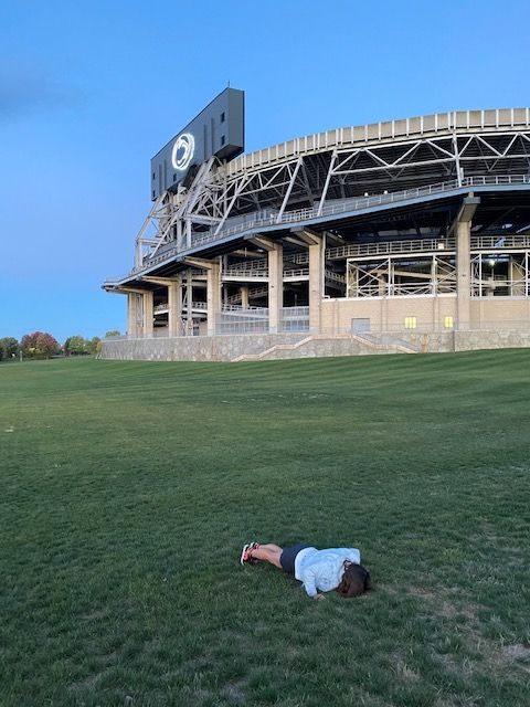 doing my pushups at penn state, a stop on a cross country road trip we took in october at the time, i'd been doing pushups for about six months