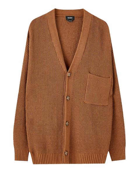 Clothing, Outerwear, Sweater, Cardigan, Brown, Sleeve, Beige, Woolen, Top, Jacket,