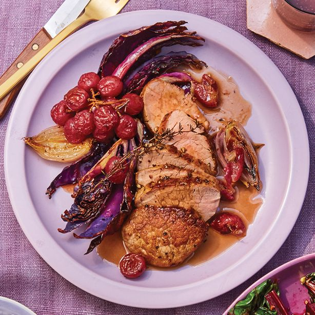 pork tenderloin with roasted grapes and cabbage recipe