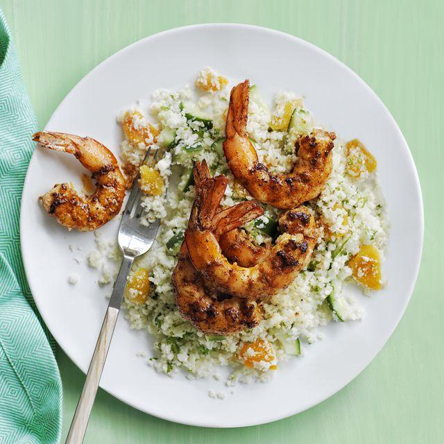 cauliflower couscous with paprika shrimp recipe
