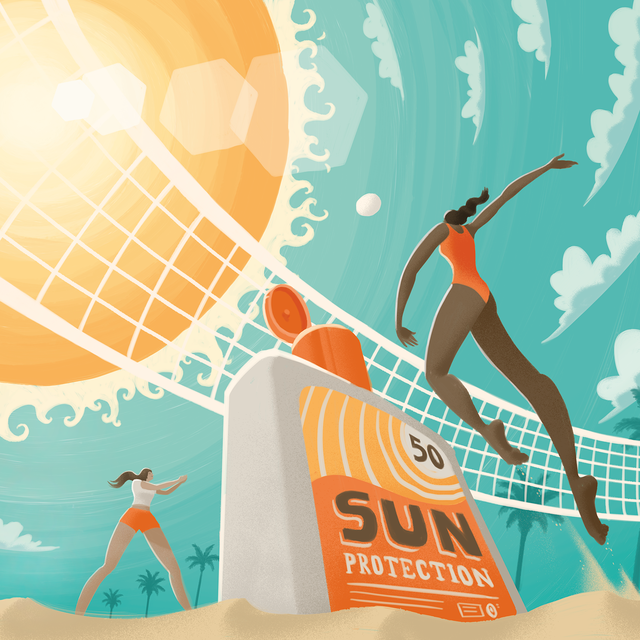 illustration of women playing volleyball in sun with sunscreen bottle close up